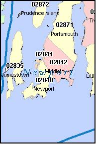 PORTSMOUTH Rhode Island RI ZIP Code Map Downloads