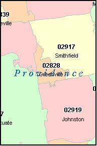 PROVIDENCE Rhode Island RI ZIP Code Map Downloads