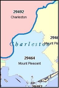 MOUNT PLEASANT South Carolina, SC ZIP Code Map