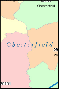 CHESTERFIELD County, SC ZIP Code Map