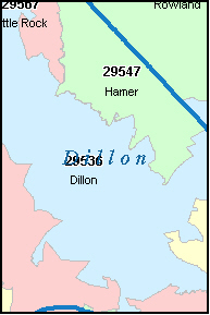 DILLON County, SC ZIP Code Map