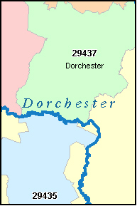 DORCHESTER County, SC ZIP Code Map