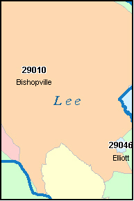 LEE County, SC ZIP Code Map