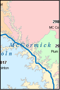 MCCORMICK County, SC ZIP Code Map