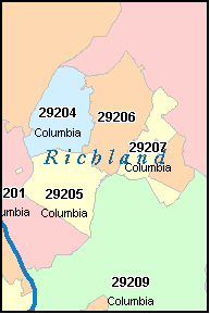 RICHLAND County, SC ZIP Code Map