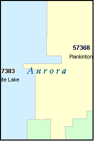AURORA County, SD ZIP Code Map