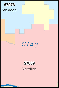 CLAY County, SD ZIP Code Map