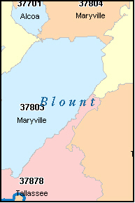 BLOUNT County, TN ZIP Code Map