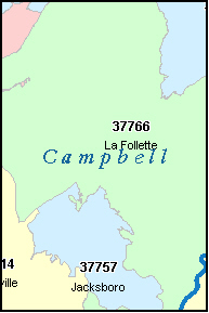 CAMPBELL County, TN ZIP Code Map