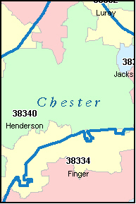 CHESTER County, TN ZIP Code Map