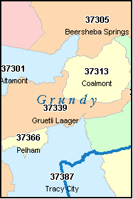 GRUNDY County, TN ZIP Code Map