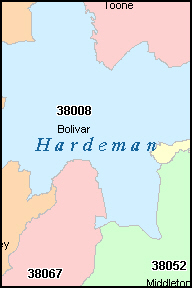 HARDEMAN County, TN ZIP Code Map