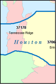 HOUSTON County, TN ZIP Code Map
