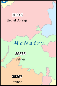 MCNAIRY County, TN ZIP Code Map