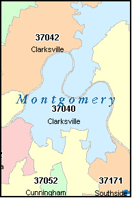 MONTGOMERY County, TN ZIP Code Map