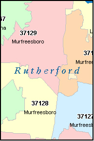 MURFREESBORO Tennessee TN ZIP Code Map Downloads