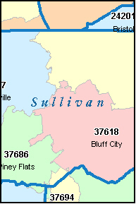 SULLIVAN County, TN ZIP Code Map