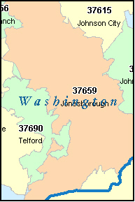 WASHINGTON County, TN ZIP Code Map
