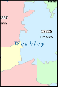 WEAKLEY County, TN ZIP Code Map