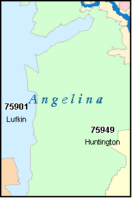 ANGELINA County, TX ZIP Code Map