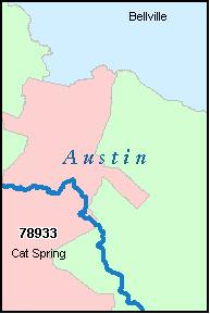 AUSTIN County Texas Digital ZIP Code Map
