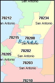 San Antonio Zip Code Map Free | shamanichorsework on