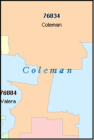 COLEMAN County, TX ZIP Code Map