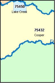 DELTA County, TX ZIP Code Map