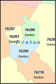 DENTON County, TX ZIP Code Map