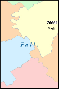 FALLS County, TX ZIP Code Map