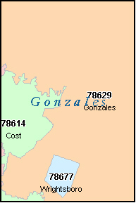GONZALES County, TX ZIP Code Map