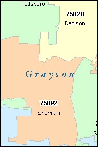 SHERMAN Texas, TX ZIP Code Map