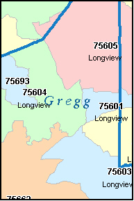 GREGG County, TX ZIP Code Map
