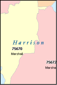 HARLETON Texas, TX ZIP Code Map