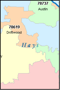 HAYS County, TX ZIP Code Map