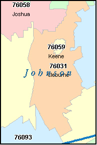 JOSHUA Texas, TX ZIP Code Map