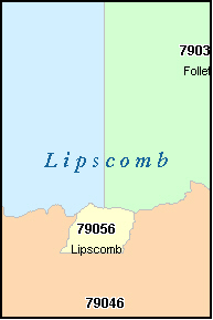 LIPSCOMB County, TX ZIP Code Map