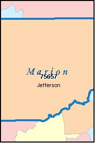 MARION County, TX ZIP Code Map