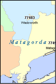 MATAGORDA County, TX ZIP Code Map