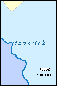 MAVERICK County, TX ZIP Code Map