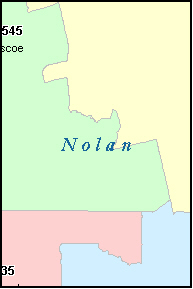 NOLAN County, TX ZIP Code Map