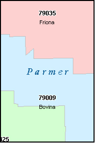 PARMER County, TX ZIP Code Map