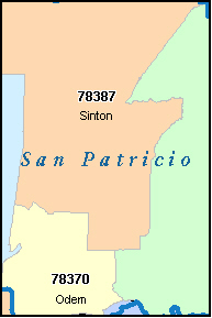 SAN PATRICIO County, TX ZIP Code Map