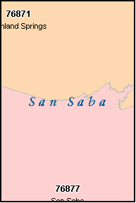SAN SABA County, TX ZIP Code Map