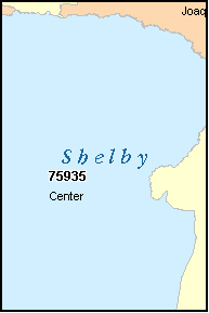 SHELBY County, TX ZIP Code Map