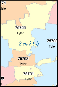SMITH County, TX ZIP Code Map