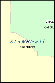 STONEWALL County, TX ZIP Code Map