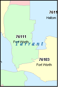 FORT WORTH Texas, TX ZIP Code Map