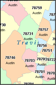 AUSTIN Texas TX ZIP Code Map Downloads