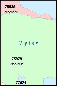 TYLER County, TX ZIP Code Map